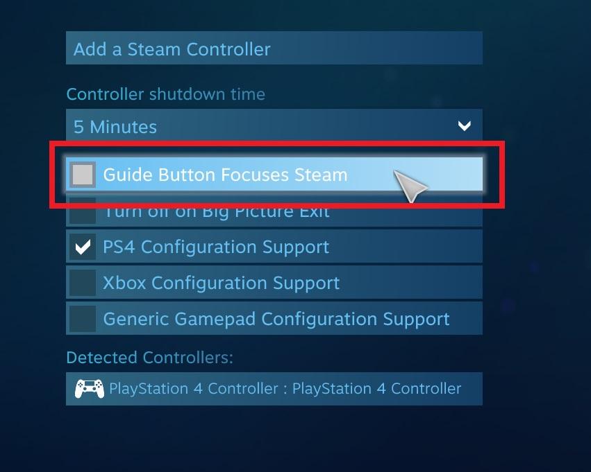 guide button focuses steam